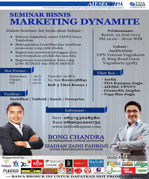 Seminar Bong Candra 2013, Workshop Marketing Bong Candra, Jadwal seminar Bong Candra 2013, Seminar Enterpreneur Yogyakarta 2013, Workshop Marketing Juni 2013.